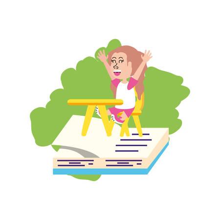 little student girl sitting in school desk with book vector illustration design