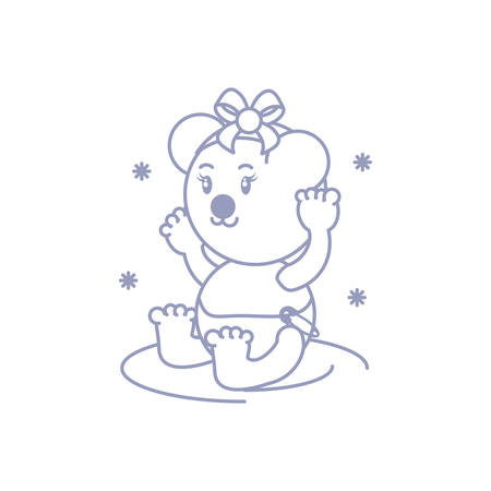 cute female bear baby animal isolated icon vector illustration design