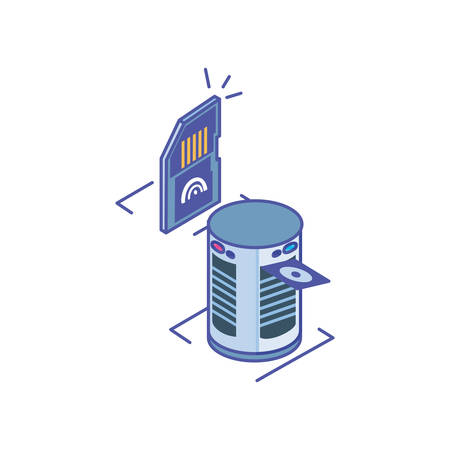 server equipment with micro sd card on white background vector illustration design