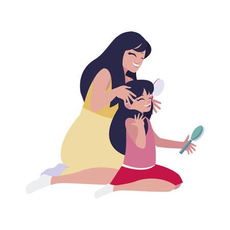 mom combing little daughter characters vector illustration design 일러스트