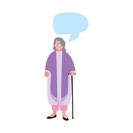 old woman with walking stick talk bubble vector illustration 일러스트