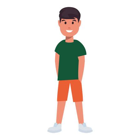 happy boy celebrating character white background vector illustration