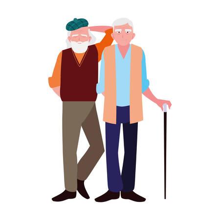 Grandfathers cartoons design, Old person grandparents man avatar senior and adult theme Vector illustration Illusztráció