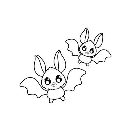 silhouette of bats flying on white background vector illustration design