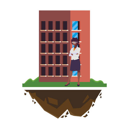 afro female engineer worker with building vector illustration design