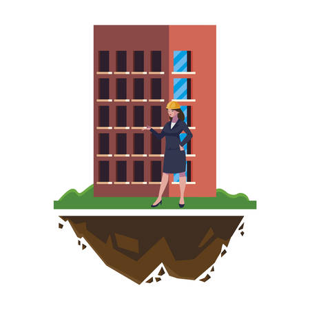 female engineer worker with building vector illustration design