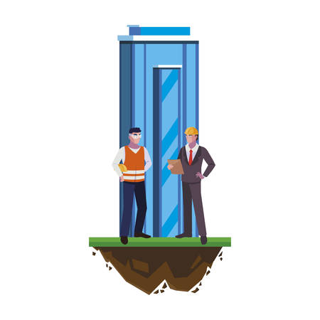 builder constructor with engineer and building vector illustration design Ilustração