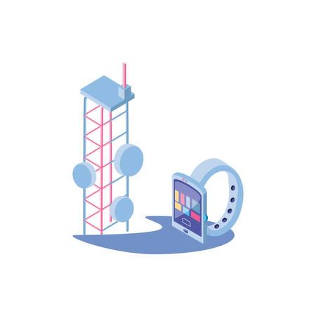 smart watch with telecommunications tower vector illustration design Ilustración de vector