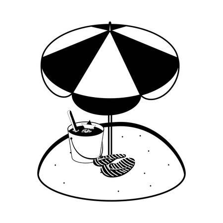 summer sand beach with umbrella and flip flops vector illustration design
