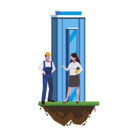 male builder constructor with woman engineer and building vector illustration Ilustração