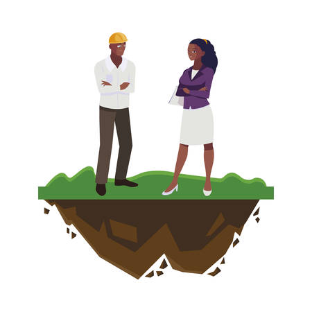 afro male builder with female engineer characters vector illustration design Ilustracja