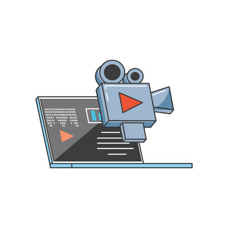 laptop computer with video camera futuristic technology vector illustration Ilustrace