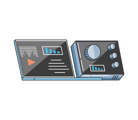 laptop computer with media player and audio console vector illustration design Ilustrace