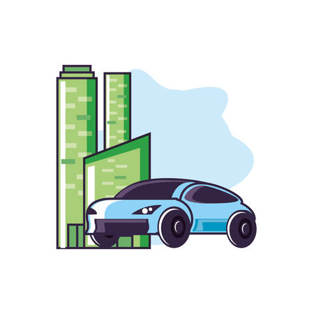 car sedan transportation with buildings facade vector illustration design