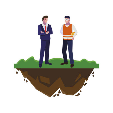 builder constructor with engineer on the lawn vector illustration design