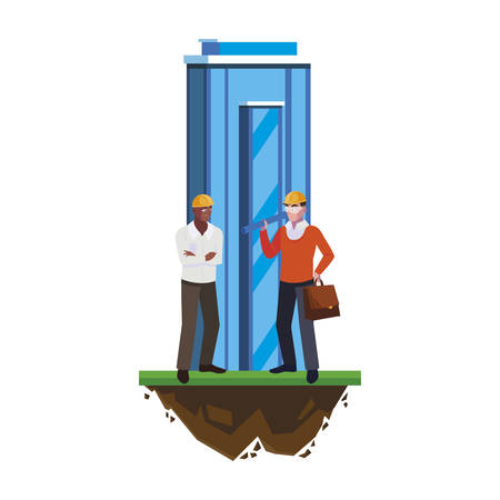 architect builder with constructor workers and building vector illustration design
