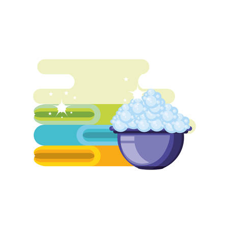Cleaning bucket and towel design, Object home work hygiene equipment domestic and housework theme Vector illustration