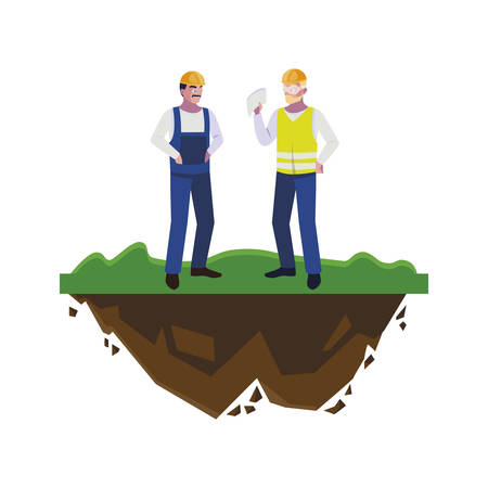 male builders constructors workers on the lawn vector illustration design Ilustração