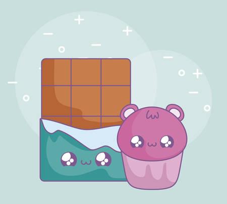 chocolate bar and cupcake with face bear kawaii style vector illustration design