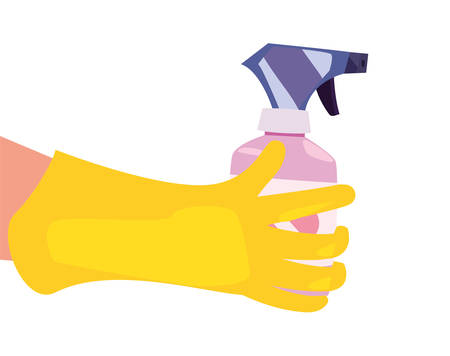 hand with glove spray cleaning products and supplies vector illustration 일러스트