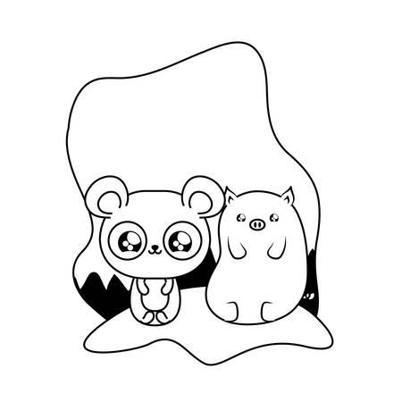 cute panda bear with piggy baby animals kawaii vector illustration design