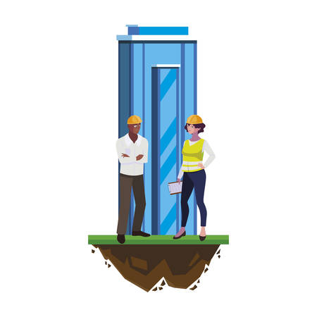 interracial couple builders with building vector illustration design