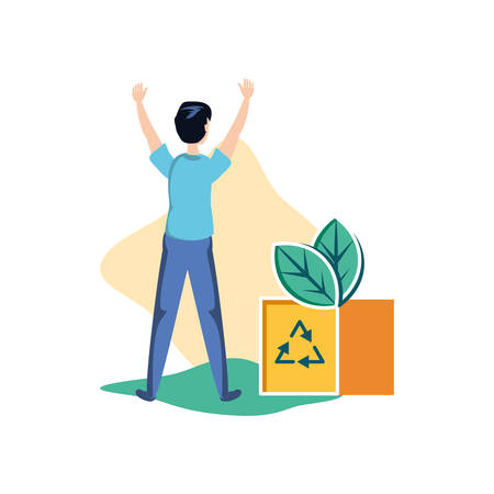 Recycle box and avatar man design, Ecology eco save green natural environment protection and care theme Vector illustration Illustration