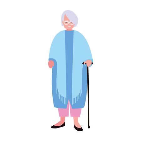 old woman with walking stick vector illustration Illusztráció