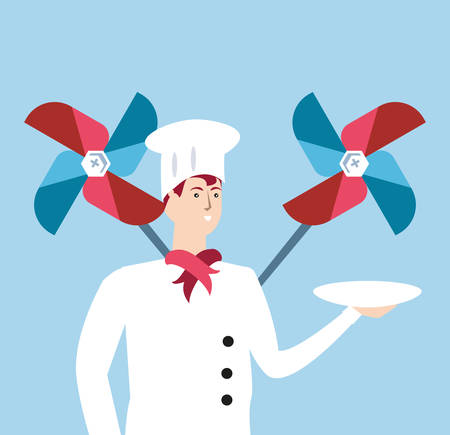 professional chef with wind toy labor day celebration vector illustration design