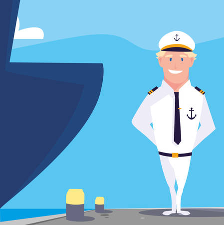 man sailor of boat in front the ship vector illustration design