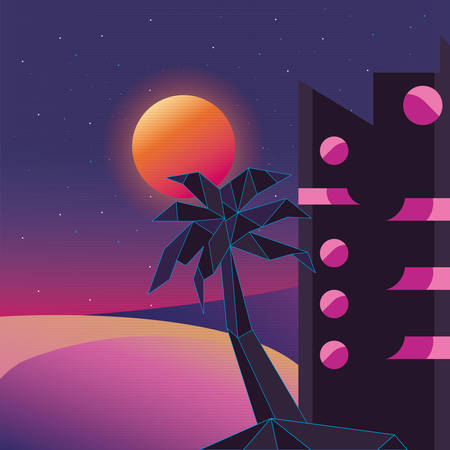 futuristic building abstract landscape style vector illustration