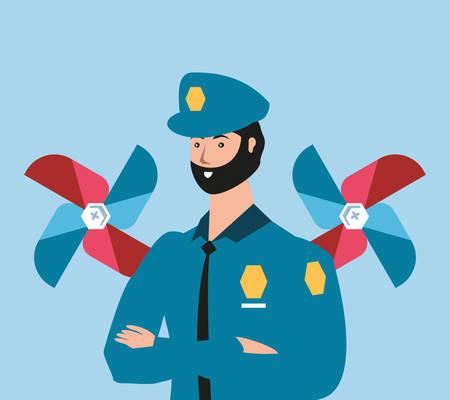 police officer worker with wind toy labor day celebration vector illustration design