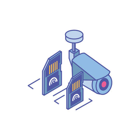 surveillance camera with micro sd card in white background vector illustration design