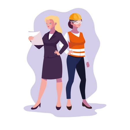 Women engineer design, Worker profession industry construction technology and occupation theme Vector illustration Ilustracja