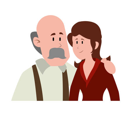 old man bald with mustache avatar character vector illustration design Фото со стока - 135317601