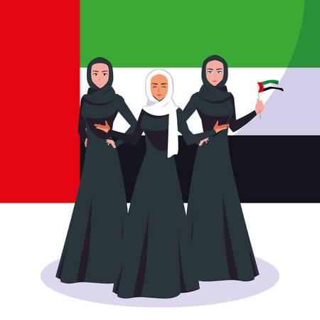 emirati women day poster with group of females vector illustration design Ilustração