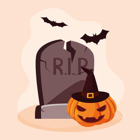 halloween pumpkin with stone and bats vector illustration design