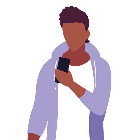 young man using smartphone social media vector illustration 向量圖像
