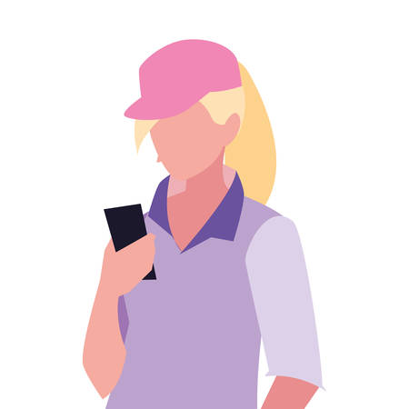 young woman using smartphone social media vector illustration 向量圖像