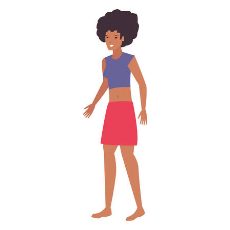 afro american woman t shirt casual portrait vector illustration
