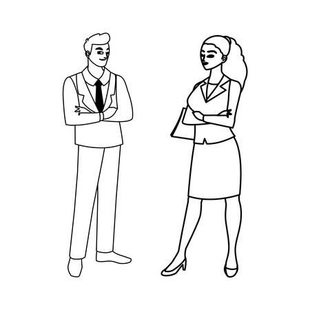 elegant business couple avatars characters vector illustration design Ilustração