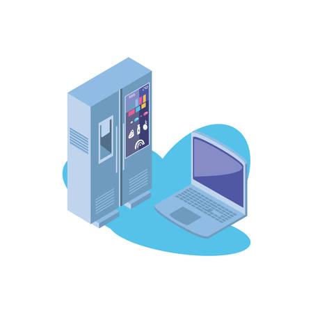 smart fridge with open laptop vector illustration design Illustration