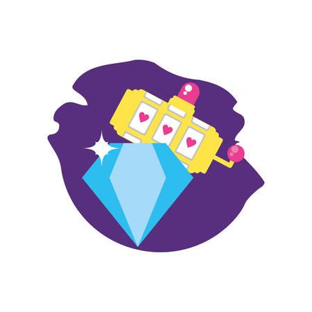 slots machine casino game with diamond vector illustration design