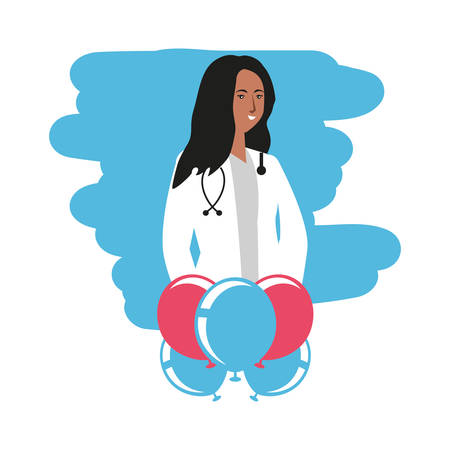 afro woman doctor with balloons helium labor day celebration vector illustration design