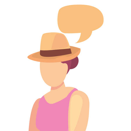 beautiful woman with swimsuit and hat summer time vector illustration