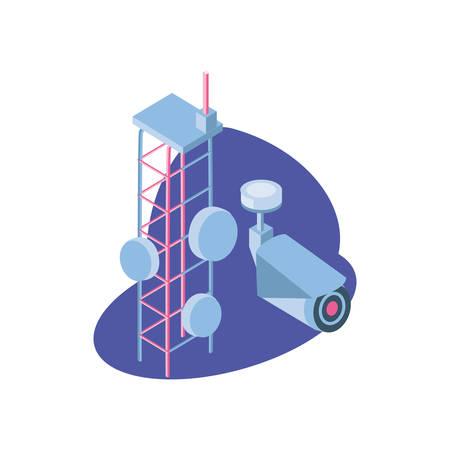 surveillance camera with telecommunications tower vector illustration design