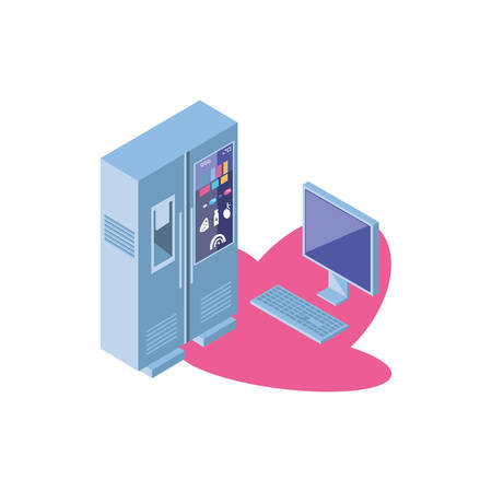 smart fridge with desktop computer screen vector illustration design