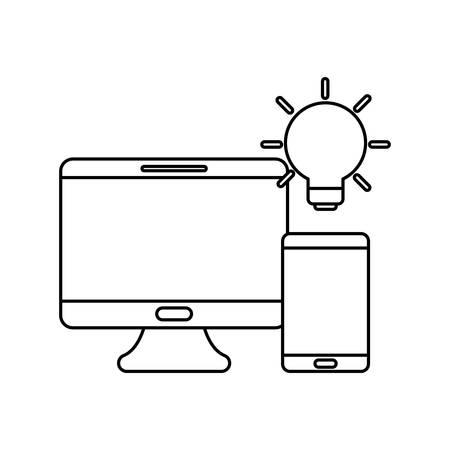 social media marketing with desktop computer vector illustration design 向量圖像