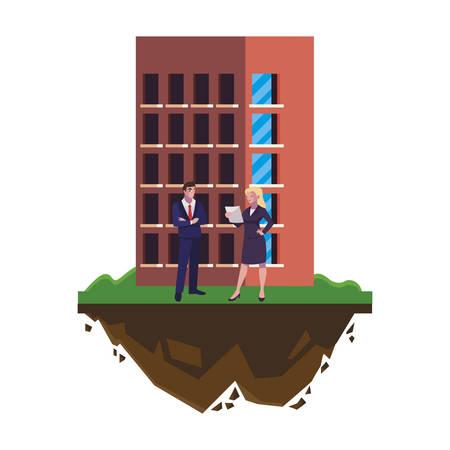 elegant business couple with building scene vector illustration design