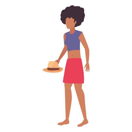 afro american woman t shirt casual hat portrait vector illustration